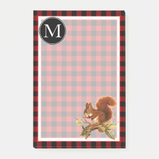 Custom Red Squirrel Red Black Buffalo Check Plaid Post-it Notes