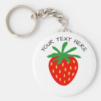 Custom red strawberry fruit round button keychains