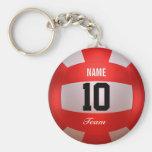 Custom Red Volleyball Basic Round Button Keychain