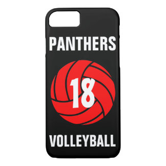 Custom Red Volleyball Number & Team Phone Case