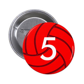 Custom Red Volleyball Round Pin