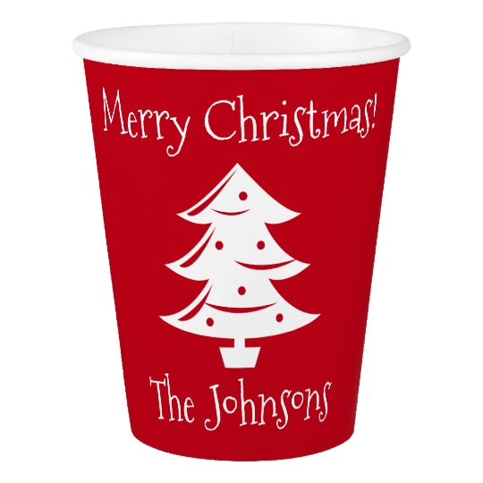 Custom red white Christmas tree party cup supplies Paper Cup