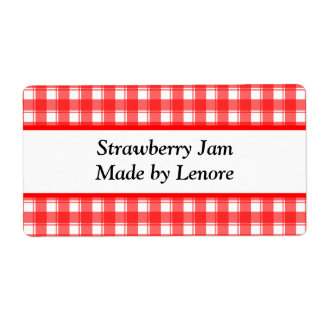 Custom Red White Plaid Canning or Soap Labels