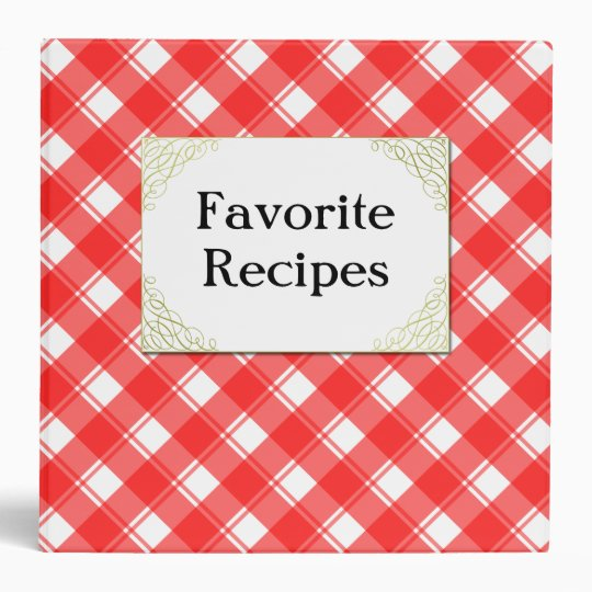Custom Red White Retro Plaid Recipe Binder