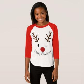 Custom Reindeer winking Christmas long sleeve T-Shirt