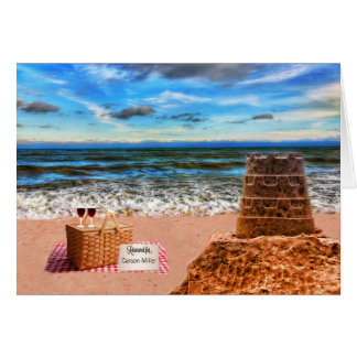 Custom Retirement Sandcastle Beach Picnic Card