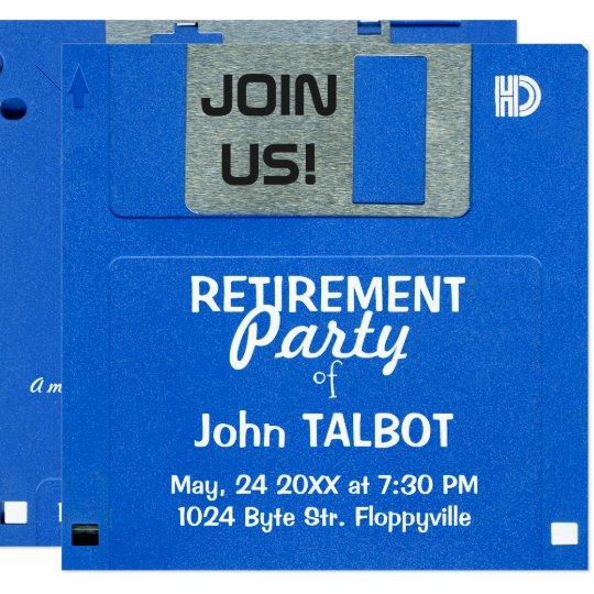 Custom Retro Floppy Disc Retirement Party invite