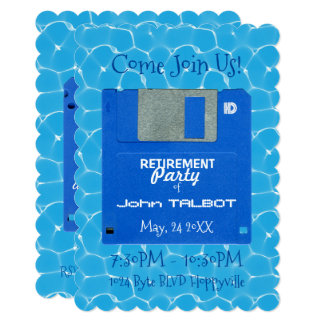 Custom Retro Floppy Retirement Party invite