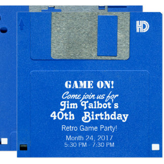 Custom Retro Game Birthday Invite Floppy Disc 3.5