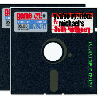Custom Retro Game Birthday Invite Floppy Disk 5.25
