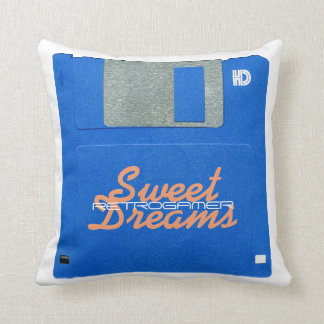 Custom Retro Gamer Floppy Disk 3.5 Sweet Dreams Throw Pillow