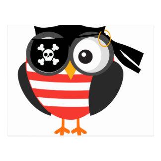 Custom Retro Halloween Pirate Owl Post Cards