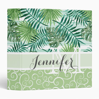 Custom Retro Hip Tropical Green Palm Leafs Pattern 3 Ring Binder