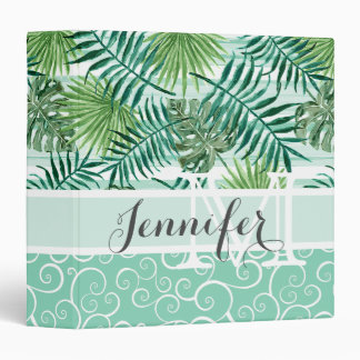 Custom Retro Hip Tropical Green Palm Leafs Pattern 3 Ring Binders