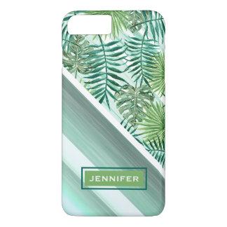Custom Retro Hip Tropical Green Palm Leafs Pattern iPhone 8 Plus/7 Plus Case