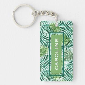 Custom Retro Hip Tropical Green Palm Leafs Pattern Keychain