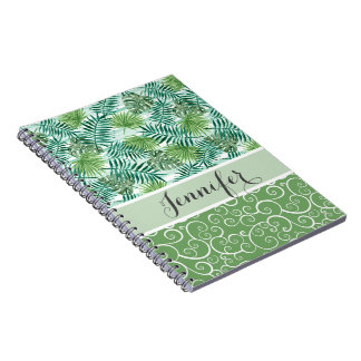 Custom Retro Hip Tropical Green Palm Leafs Pattern Notebook