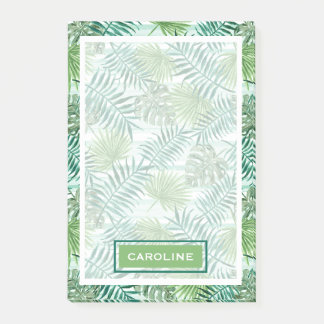 Custom Retro Hip Tropical Green Palm Leafs Pattern Post-it Notes