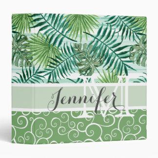 Custom Retro Hip Tropical Green Palm Leafs Pattern Vinyl Binders