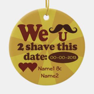 Custom Retro Mustache Save-The-Date ornament