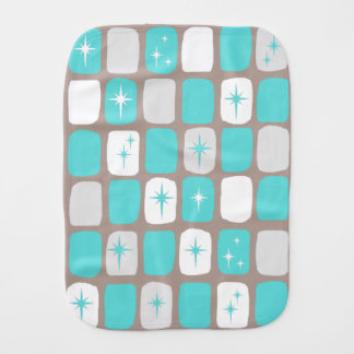 Custom Retro Turquoise Starbursts Burp Cloth