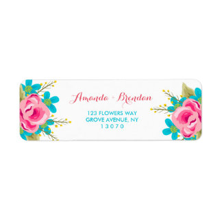 Custom Return Address Labels with flowers