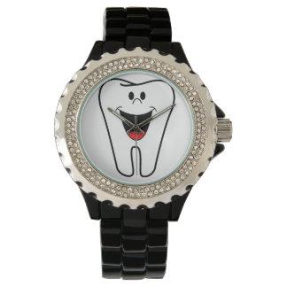 Custom Rhinestone Black Enamel Doctor Image Wristwatch