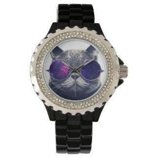 Custom Rhinestone Black Enamel Watch
