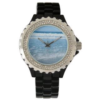 Custom Rhinestone Black Enamel Watch Ocean