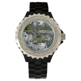 Custom Rhinestone Black Enamel women's watch