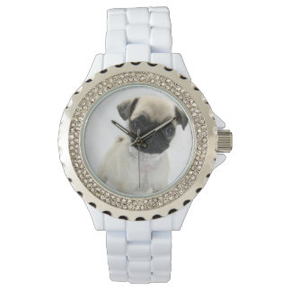 Custom Rhinestone White Enamel Watch