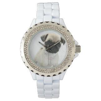 Custom Rhinestone White Enamel Watches