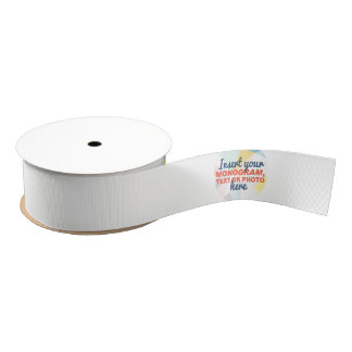 Custom Ribbon: Add your own logo, monogram or text Grosgrain Ribbon