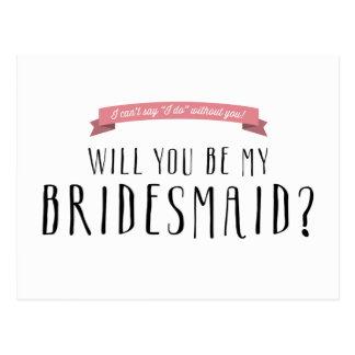 Custom Ribbon Colour - Bridesmaid Proposal Postcard