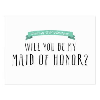 Custom Ribbon Colour - Maid of Honour Proposal Postcard