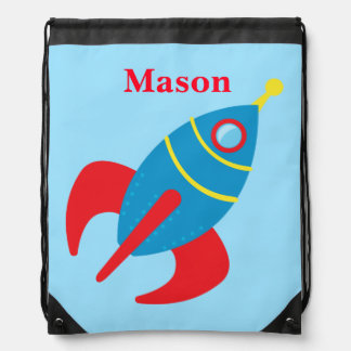 Custom Rocketship Drawstring Bag