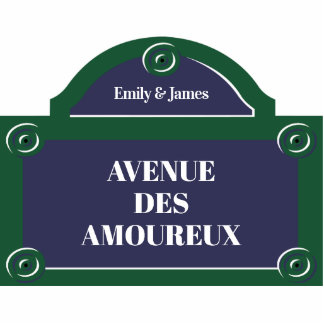 Custom Romantic Couple Paris Street Sign Photo Sculpture Magnet