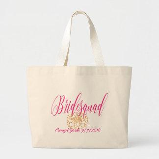 Custom Romantic Swirl Bridesmaid RosePink & Gold Large Tote Bag
