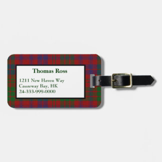 Custom Ross Tartan Plaid Luggage Tag