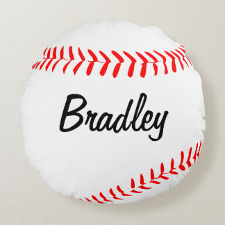 Custom Round Baseball Throw Pillow