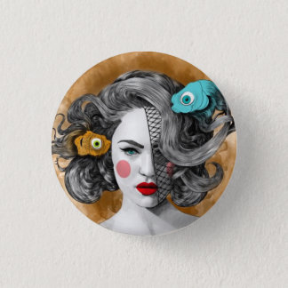 Custom round button/Pisces-fish, woman image 1 Inch Round Button