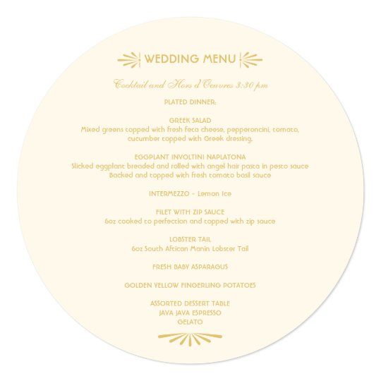 Custom Round Menu | Ivory and Gold Card