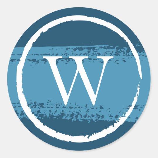 Custom Round Monogram Stickers | Blue and White