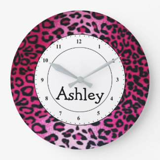 Custom Round Pink Cheetah Large Clock