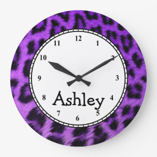 Custom Round Purple Cheetah Large Clock