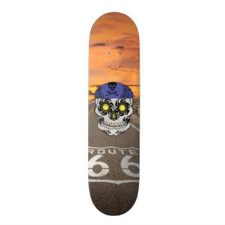 Custom Route 66 Motorcycle Candy Skull Deck Skateboard Decks