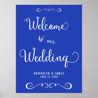 Custom Royal Blue Wedding Reception Sign Print