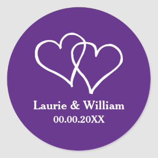 Custom royal purple double heart wedding stickers