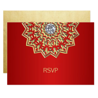 Custom Ruby RED Gold Indian Mandala RSVP Wedding Card