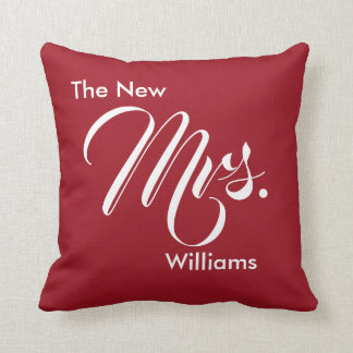 Custom Ruby Red The New Mrs. Bride Throw Pillow